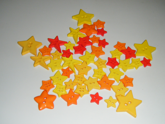 Stars buttons Mixed shape, size and colours - Orange and yellows