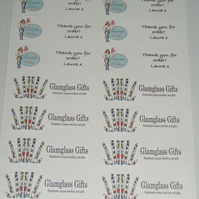 Custom personalised printed White Stickers 14 per sheet x 5 sheets