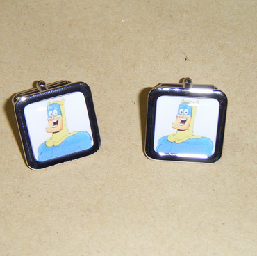 Bananaman Silver Chrome Cufflinks - Ideal for Father's day or Dads Birthday