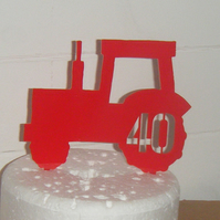 Red Tractor Acrylic Cake Topper for 6 inch cake