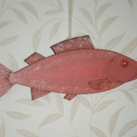 Pink Salmon Fish Wall Art - MDF can have mesage added