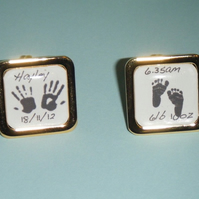 Silvertone square handprint footprint personalised cufflinks