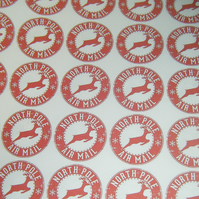 Red North Pole Stickers with Reindeer 35 per sheet 37mm
