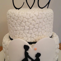 Initials with heart or any Letters Acrylic Cake Topper