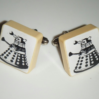 Dalek Silhouette Dr who - Altered art scrabble tile Cufflinks
