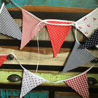 Handmade Bunting - Red, Blue and White