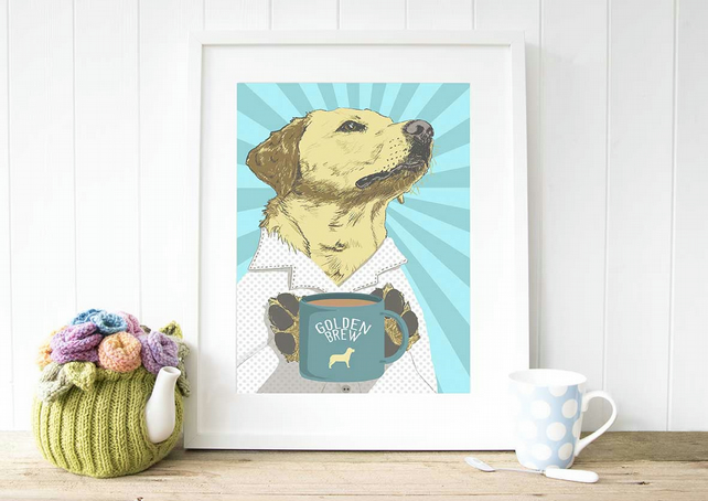 A4 yellow Labrador 'golden brew' POP ART giclee fine art print