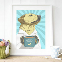 A3 yellow Lab 'golden brew' POP ART Giclee Fine Art Print