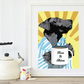 A3 Coffe Black Lab in pyjamas Giclee fine art print