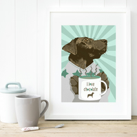 A4 Chocolate Labrador 'I LOVE chocolate' Giclee Fine Art Print