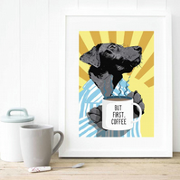 Coffee art, Black Labrador print, Gift for him, Kitchen art, Bedroom art