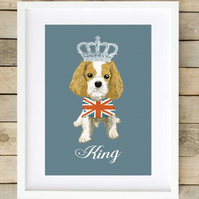 A4 'Dog Royalty' Union Jack King Charles Cavalier Giclee Print