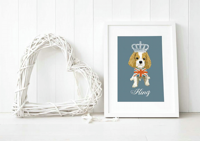 A3 Giclee 'Dog Royalty' Union Jack King Charles Cavalier Fine Art Print