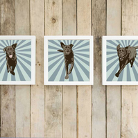 Chocolate Lab wall art - Set of three pop art prints - Dog pop art