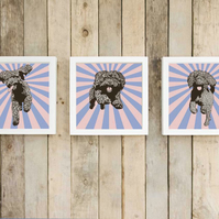 Set of 3 large modern Cockapoo pop art prints - Chocolate cockapoo gift