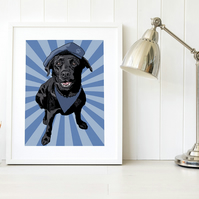 Black Labrador service dog print, Labrador pop art gift for dog handlers