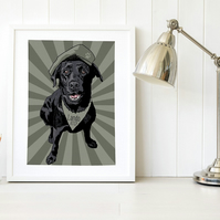 A3 Black Lab army dog print, gift for military service dogs & dog handlers