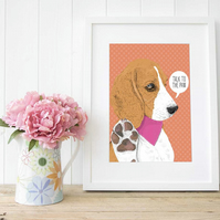A4 'Talk to the Paw' Personalised Beagle Wall Art for dog lovers, Giclee Print
