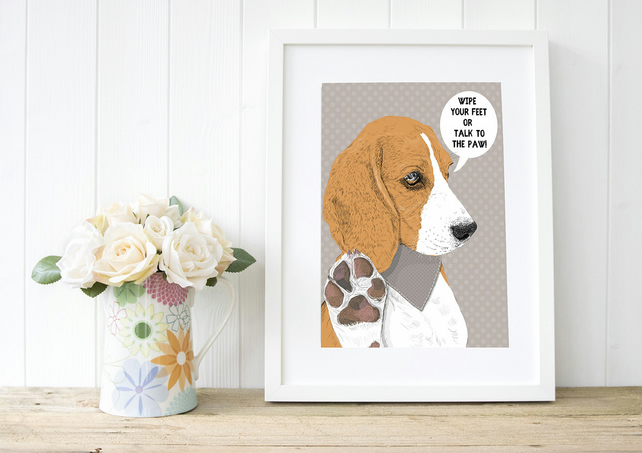 'Talk to the Paw' Beagle Portrait, custom art for beagle lovers!