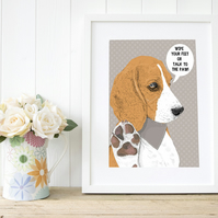 A3 'Talk to the Paw' Beagle Portrait, custom art for beagle lovers!