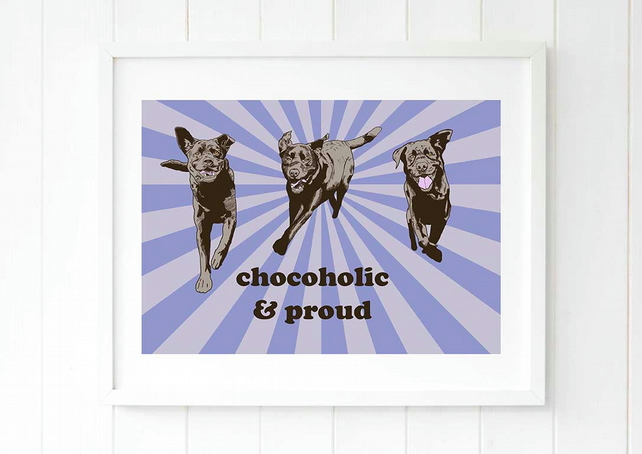 A3 Retro Labrador Pop Art giclee Illustration, great gift ideas for him!