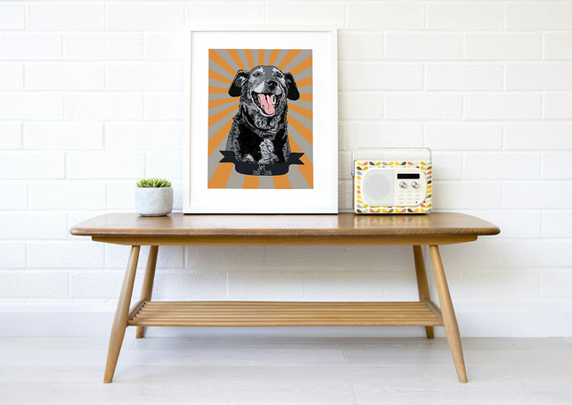A3 Custom 'rainbow bridge' dog memorial, retro starburst dog pop art