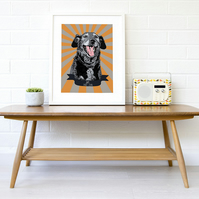 A4 Personalised starburst pet memorial - pet loss gift ideas, giclee print
