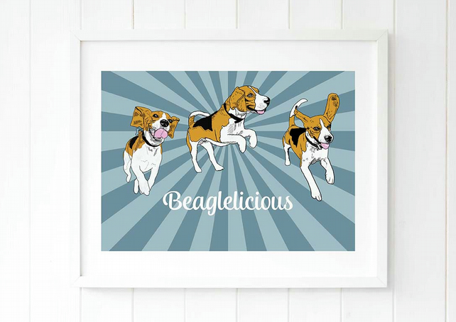 Beagle pop art print, the perfect gift for beagle owners