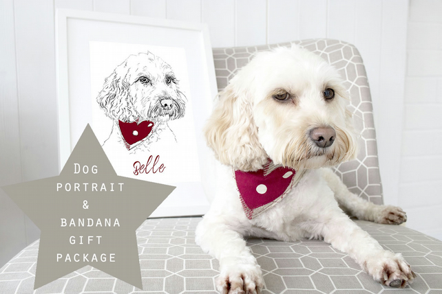 GIFT SET - A4 Personalised Dog Illustration and handmade dog bandana gift set