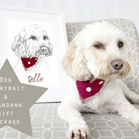 A3 Personalised Dog Illustration and custom handmade dog bandana GIFT SET