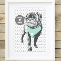 MINT A4 Giclee 'PUGS LOVE HUGS' Pug wall art, cute pug gifts, pug gifts for her