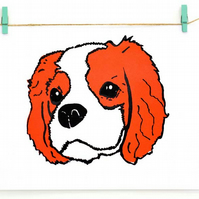 A4 Blenheim King Charles Cavalier Pop Art screen print - Neon coral dog royalty