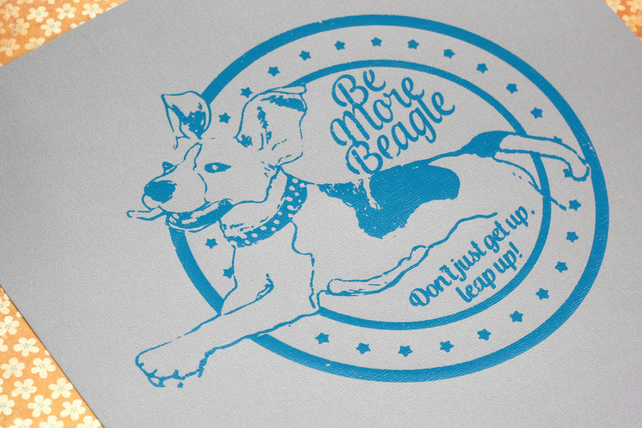 Bouncy Beagle retro screen print - gift for beagle lovers
