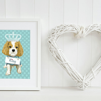 Personalised blenheim King Charles Cavalier art