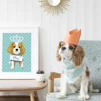 A3 Personalised blenheim King Charles Cavalier Giclee Print