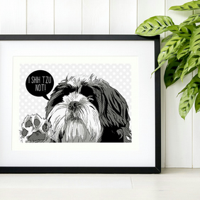 A4 'I Shih Tzu not' print, personalised black and white dog pop art illustration