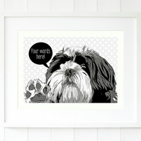 A3 Shih Tzu personalised black and white dog print, custom giclee dog wall art