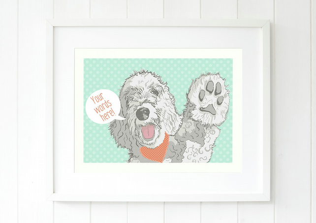 Labradoodle art gift for her, Labradoodle pop art birthday gift idea
