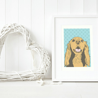 Dotty Sprocker dog illustration, Cocker Spaniel pop art drawing