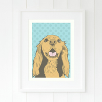 Sprocker dog pop art illustration print - Modern dog art - Sprocker gift for her