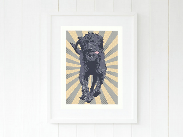 A4 Doodle wall art, gift for Labradoodle owners, giclee art print