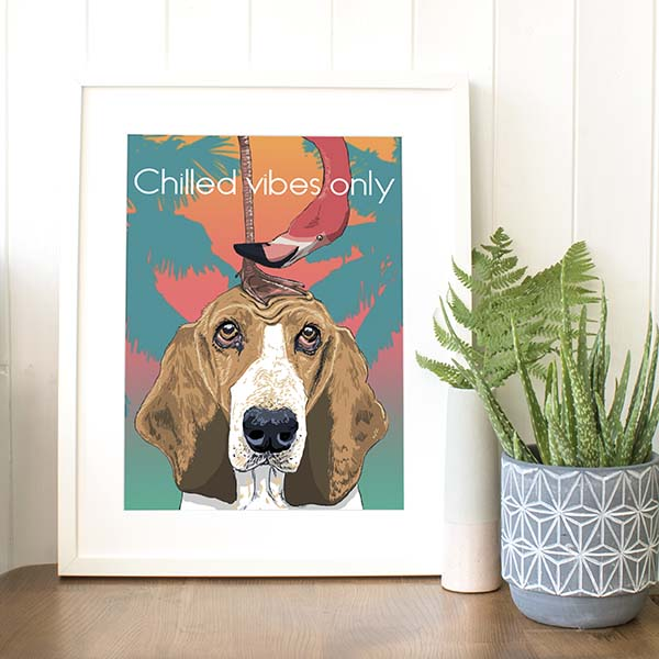 A4 Basset Hound 'Chilled vibes only'  Pink flamingo Tropical giclee print
