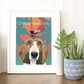 A3 'Chilled vibes' dog art, Pink flamingo and Basset Hound in tropical paradise