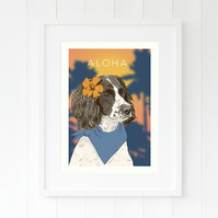 Springer Spaniel wall art - British dog art - Aloha art gift for Spaniel lover