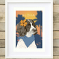 A4 Springer Spaniel Aloha tropical palm tree giclee print, gift for dog lover