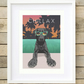 A4 'Chillax' Labrador giclee art print, modern black Labrador retriever wall art