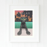 A3 Black Labrador Retriever Tropical Giclee print, dog art by British artist