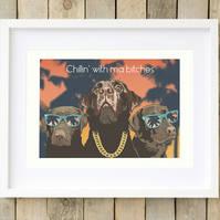 Funny Labrador art, Chocolate Labrador gift for him, Labrador art