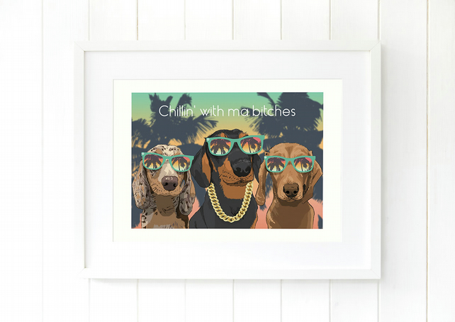 A3 Wiener giclee print - funny, cool and contemporary sausage dog art