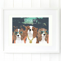 A3 Cavalier Kingpin giclee print - funny and modern King Charles wall art